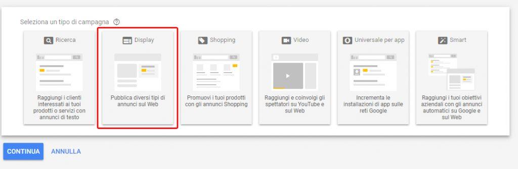 google ads tipi di campagne
